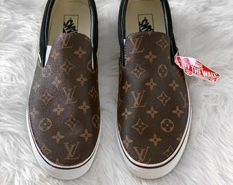 1012915f6374 Custom Brown LV Black Slip On Vans