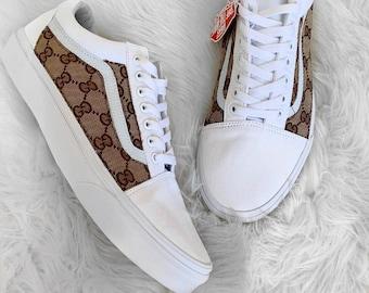 White Brown Side Gucci GG Old Skool Vans Custom 18bf4db09