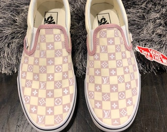 1381c269478a9 Custom Pink Checkerboard LV Slip On Vans