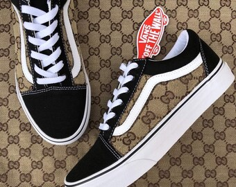 Custom Black Brown Side Gucci GG Old Skool Vans a4ec61836