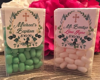 20x Tic Tac Guest Gift baptism sticker Girl