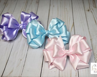 09a5244f1bdcf Solid Bows • Satin Bows • Solid Colored Bows • Satin Hair Bows • Solid  Color Bows • Layered Bows • Stacked Bows • Boutique Bows