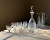 Vintage Bohemia Crystal Luxury Decanter Set Czechoslovakia