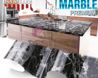 *Premium Gloss White Marble Granite Look Vinyl Contact Paper Home Kitchen #6702