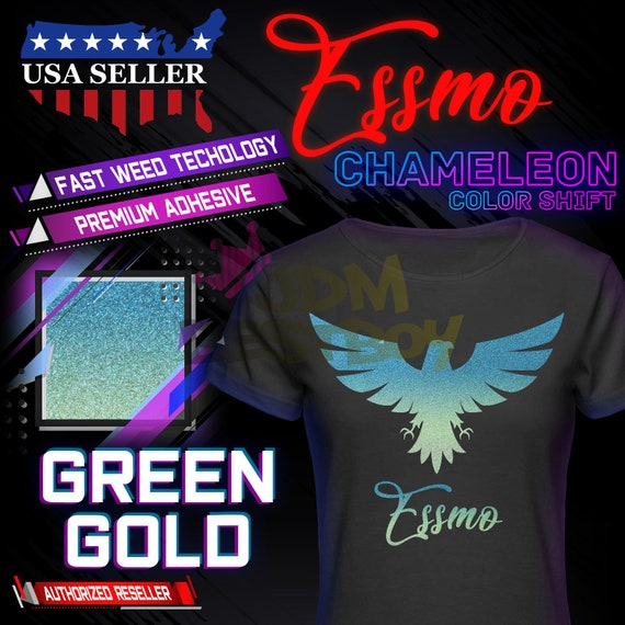 ESSMO\u2122 Chameleon Color Change Heat Transfer Vinyl HTV Easy To Weed Sheet Roll T-Shirt 20 Wide Iron On Heat Press