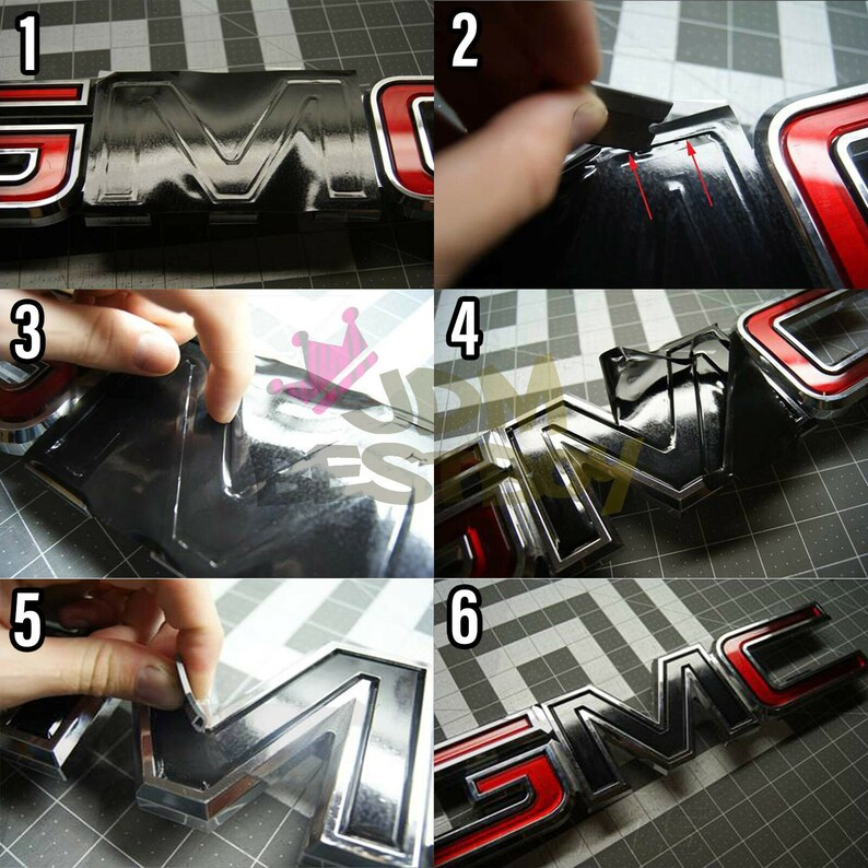 Free Kit Silver Snake Skin GMC Emblem Overlay Vinyl Wrap Kit Sticker Decal Front /& Rear