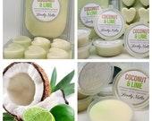 COCONUT and LIME Wax Melts, UK Soy Wax Melts, wax pots and wax bars, strong wax melts