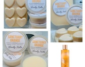 SANCTUARY ORANGE Spa Wax Melts, Soy Wax Melts, Heart Clamshell or Pots. Vegan friendly, UK wax melts.