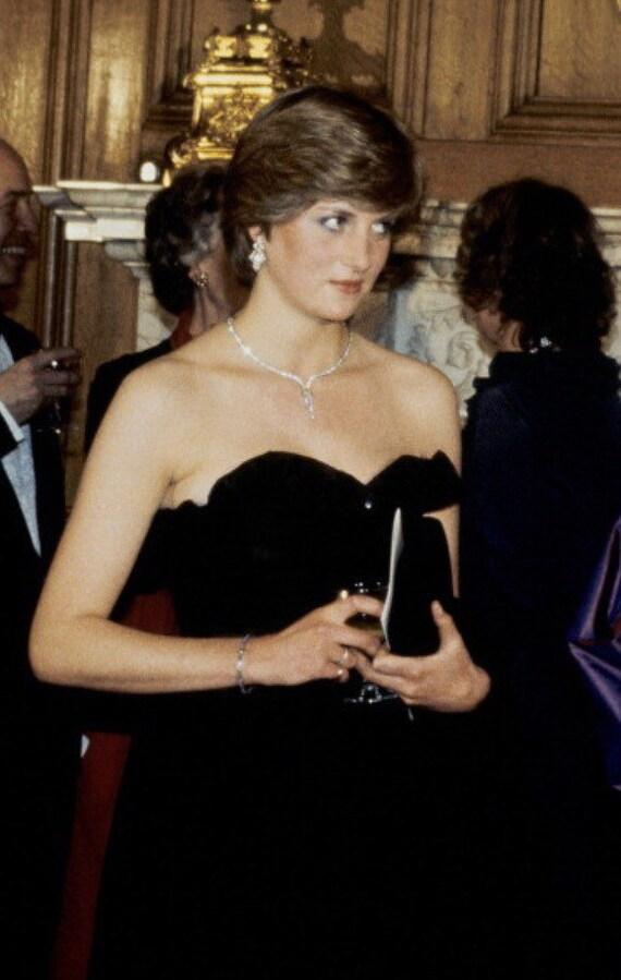 Vintage Velvet Dress- Princess Diana Style 1980s