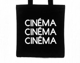 Cinema Cinema Cinema Black and White Tote Bag