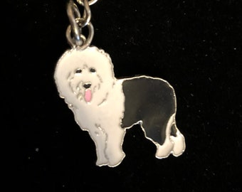 Border Collie ID Name Tag//Keyring Gift//Present Dog English Sheepdog Key Ring