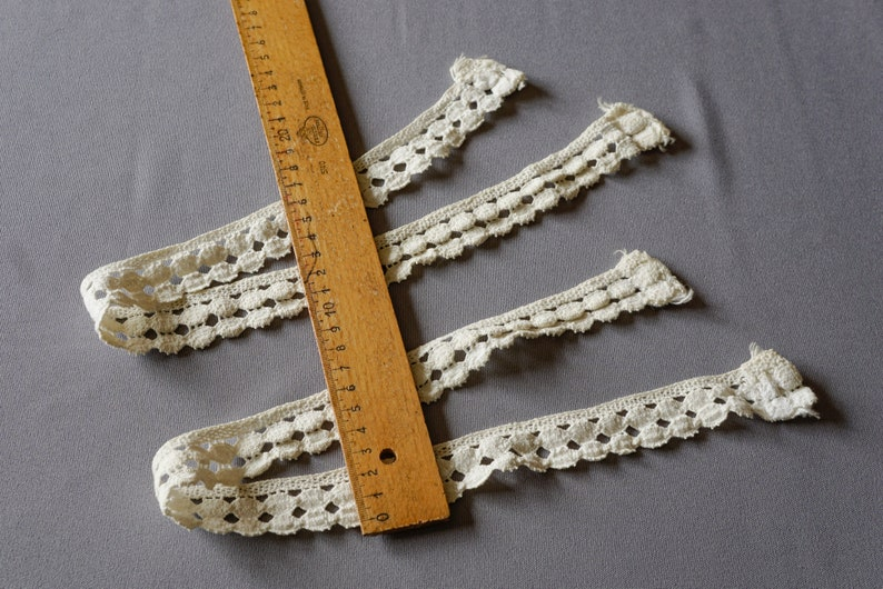 wool white vintage used old lace bristle Handmade lace,Two lace borders used