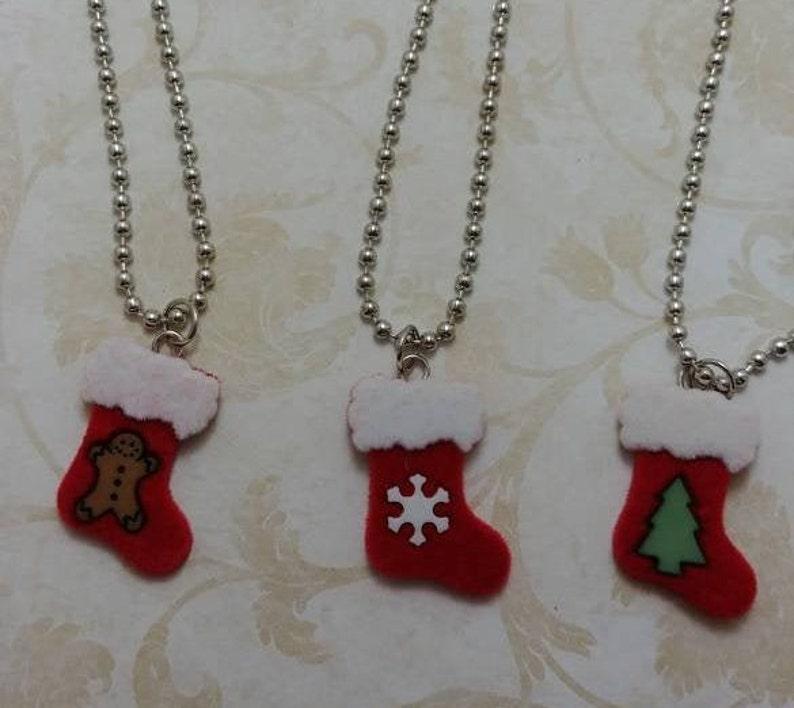 Christmas Necklaces-Christmas Stocking Necklaces-Christmas Red Stocking Necklaces