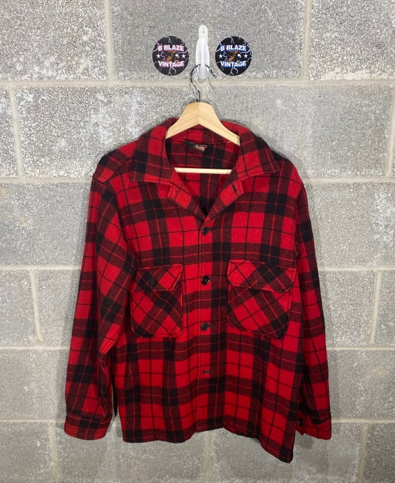 Vintage 1990s Woolrich Wool Plaid Button Up Long S