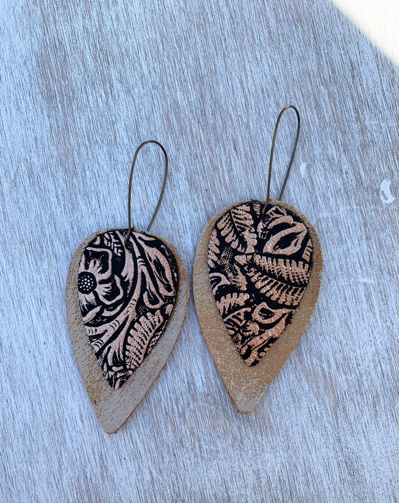 Embossed Metallic Leather Gold And Black Earrings Leaf Shaped Leather Metallic Embossed Earrings. Layered Leather Embossed Earrings