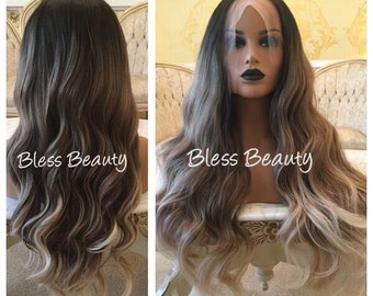 Lovely Hot Quality Ombre Darkest Brown Mix Golden Blonde Wavy Small Lace Front Long Wig Jewelry Findings & Components