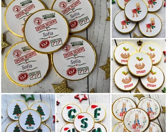 Christmas eve box fillers Stocking fillers 5 x personalised milk Chocolate coins. Christmas Chocolate. Christmas place setting