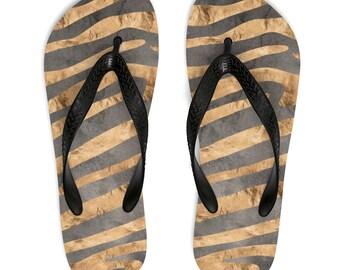 b9cb9409bc8e Zebra Print Flip Flops