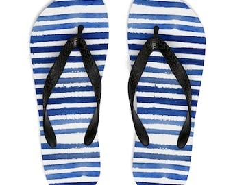 faf72dd2159645 Nautical Stripe Flip Flops For Women