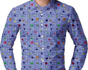 Fab Patterns Mens Dark Floral Slim Fit Half Sleeve Cotton Satin Shirt