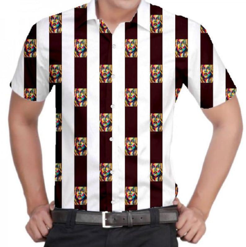 Fab Patterns Mens Grenadine Blondie Slim Fit 100/% Cotton Half-Sleeve Shirt Maroon /& White