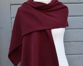 Cashmere and merino wool knitted scarf Burgundy winter warm scarf Cashmere women knit accessories