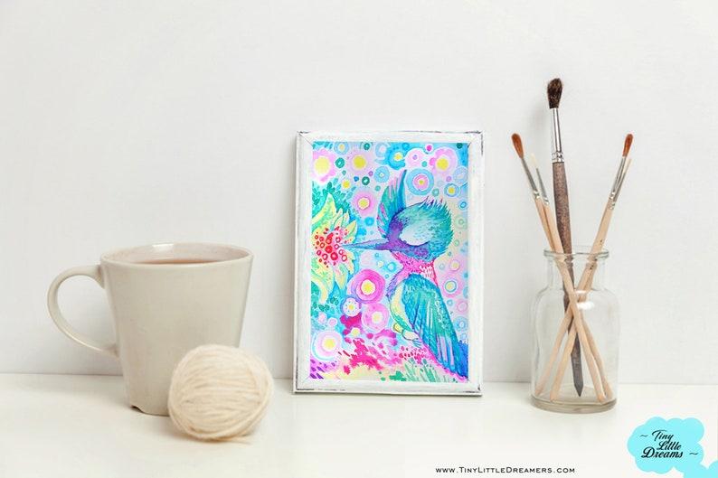 Print: Rainbow Bubble Hummingbird Cuties  Cloud Gecko image 0