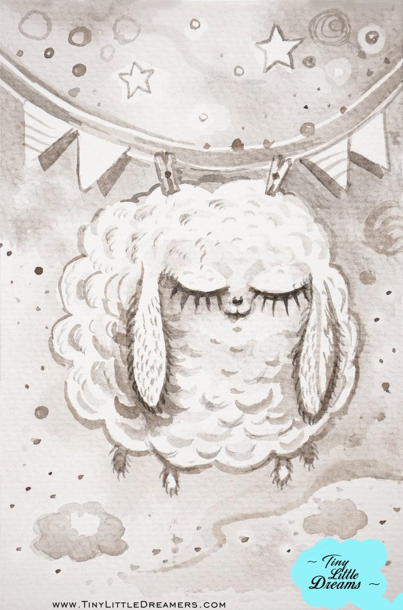 Counting Sheep Original Watercolor Painting Nursery Wall Art image 0