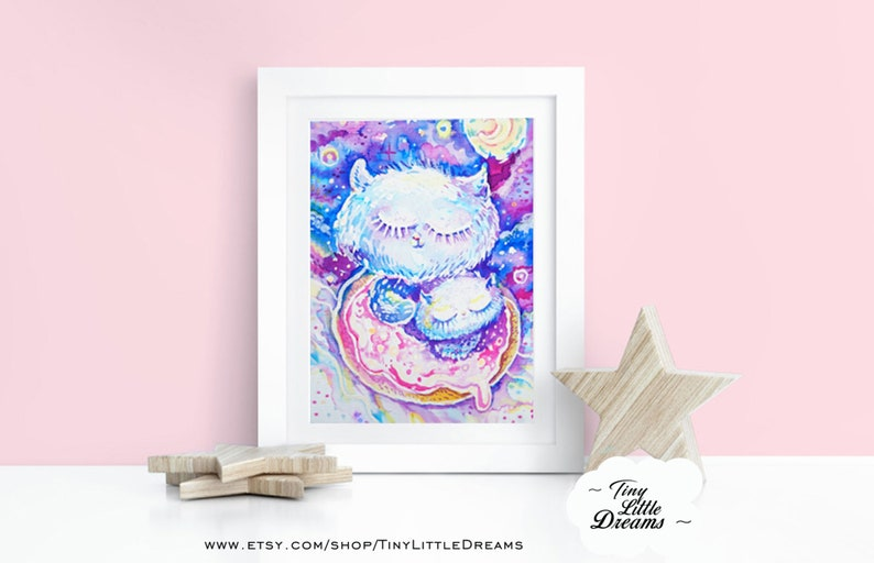 Print: Cat Donut Galaxy Kitten I Love Mommy Kawaii Kids image 0