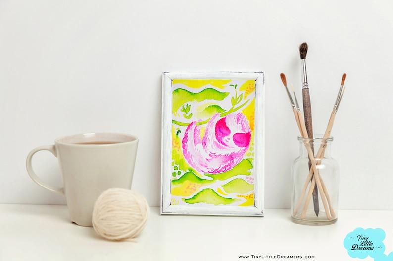 Print: Pink Sloth Cutie on Green Fields Nursery Wall Art image 0