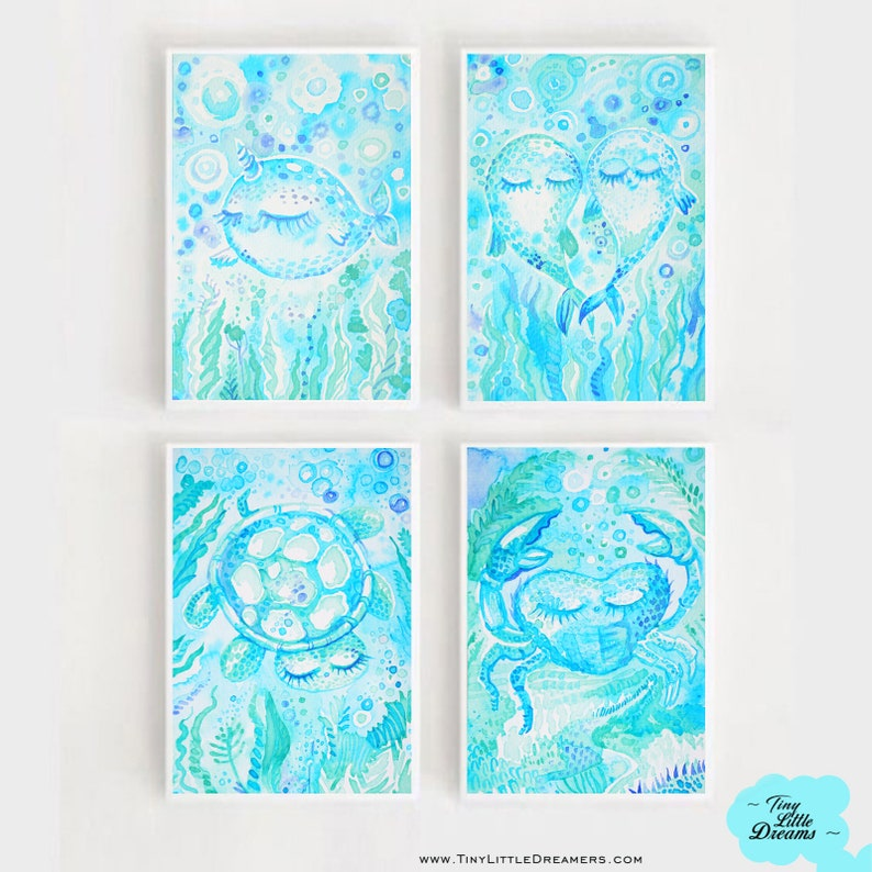 Set of 4 Nautical Dreamers: Narwhal Crab Whales and Sea image 0