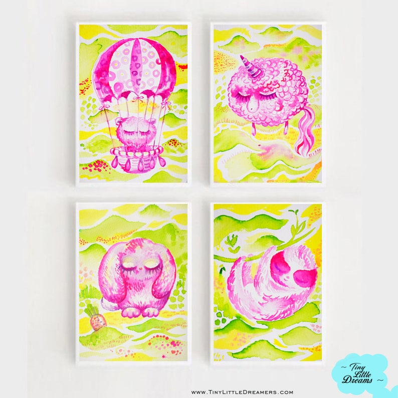 Set of Pink Dreamers on Green Fields Sloth Sheep Bunny image 0