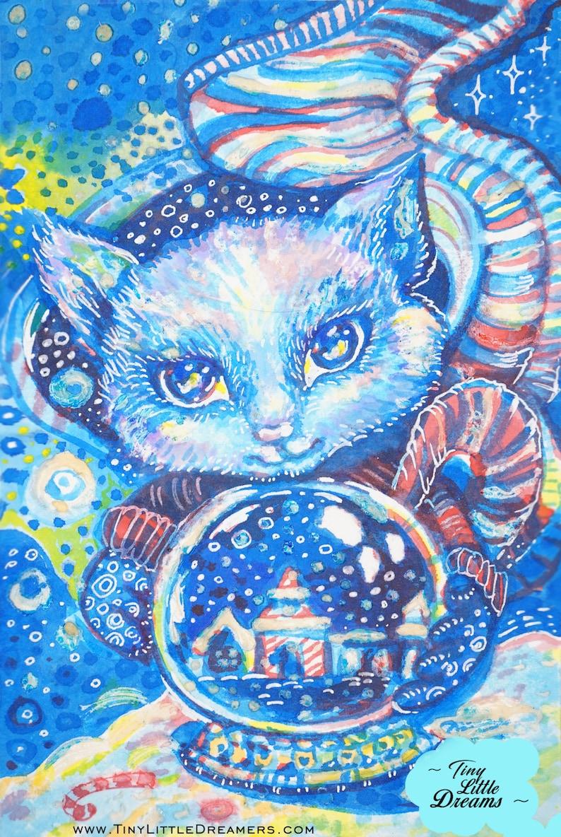 Original Cat Snow Globe Watercolor Paintings Cat and Mouse image 0