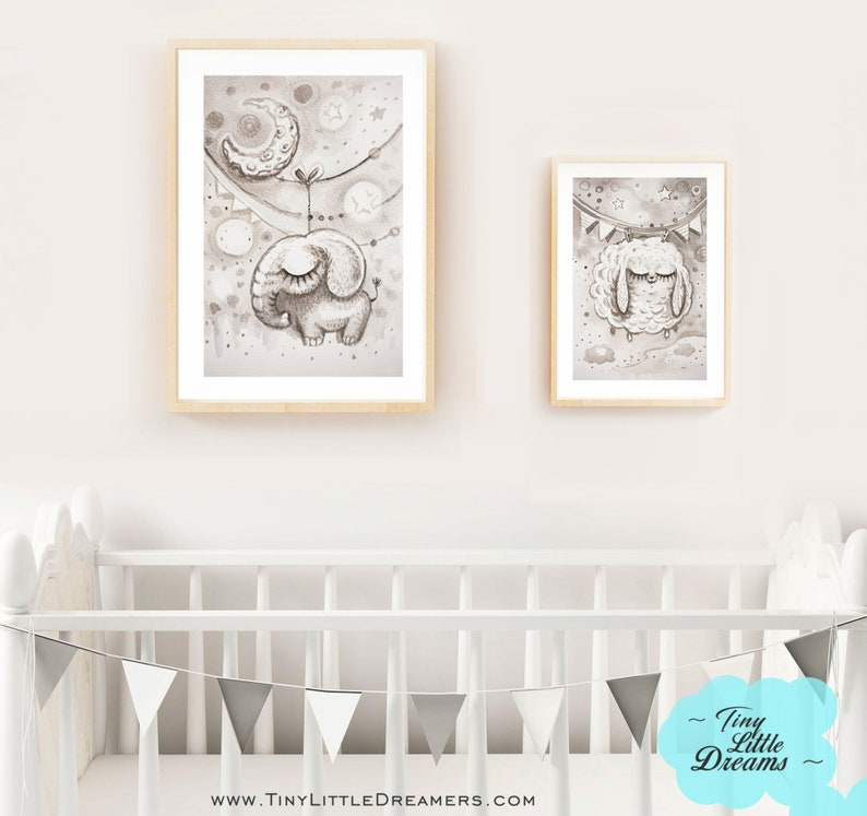 Elephant Print Printable Digital Download Nursery Baby image 0