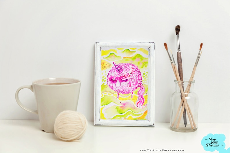 Original Pink Dreamer Unicorn Sheep on Green Fields Watercolor image 0