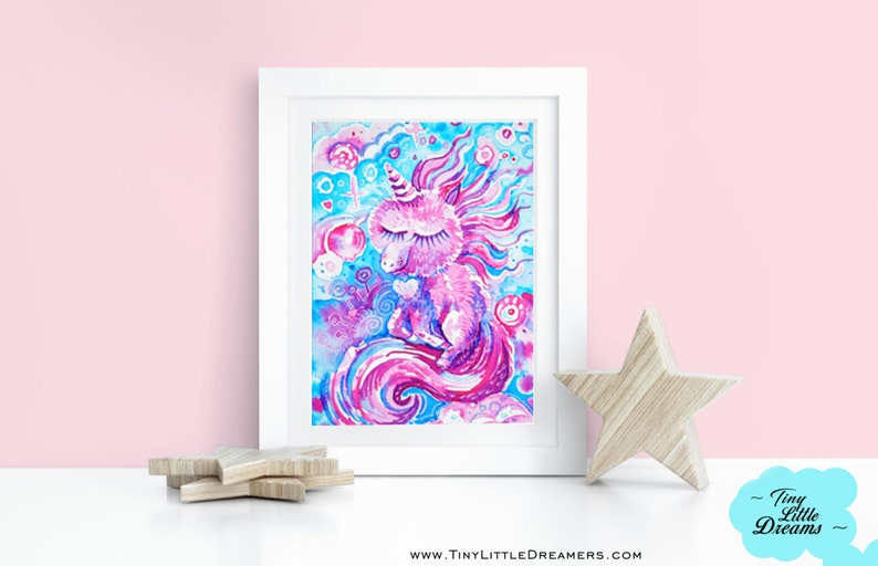 Original Painting: Unicorn Cotton Candy I Love Unicorns image 0