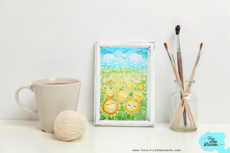 Original Sunflower Dreamer Field of Smiles Watercolor image 0