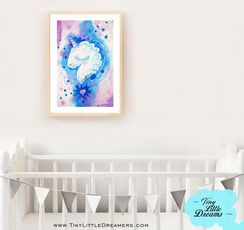Unicorn Blue Galaxy Printable Digital Download Nursery Baby image 0