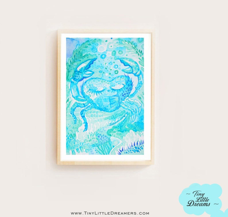 Digital: Blue Crab Painting Nursery Wall Art Decor Kids image 0