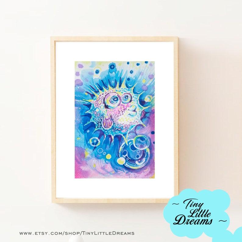 Puffer Fish Print Printable Digital Download Nursery Baby image 0
