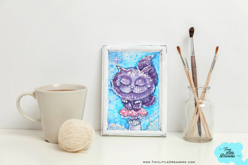 Print: Wonderland Dreamers Cheshire Kitten Cat Print Nursery image 0