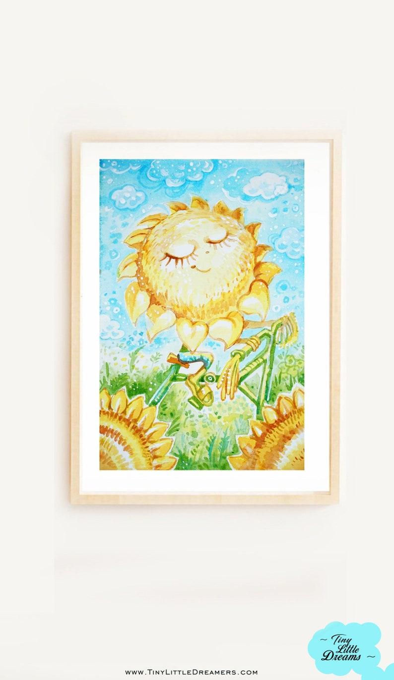 Print: Sunflower Dreamers Print Nursery Wall ArtSunflowers image 0
