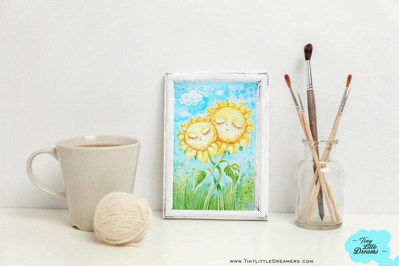 Original Sunflower Dreamer Couple Watercolor Painting Nursery image 0