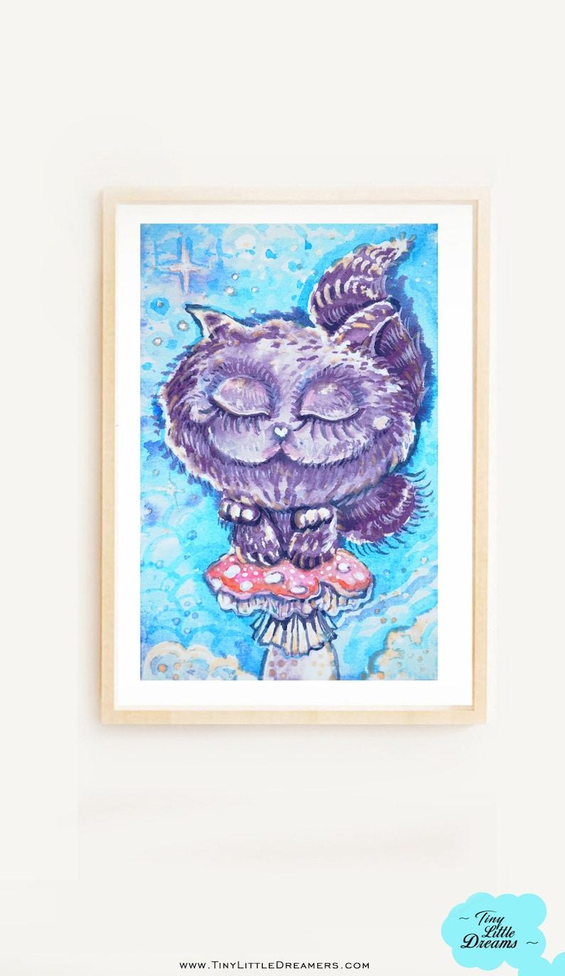 Original Wonderland Dreamers Kitten Cheshire Cat Watercolor image 0