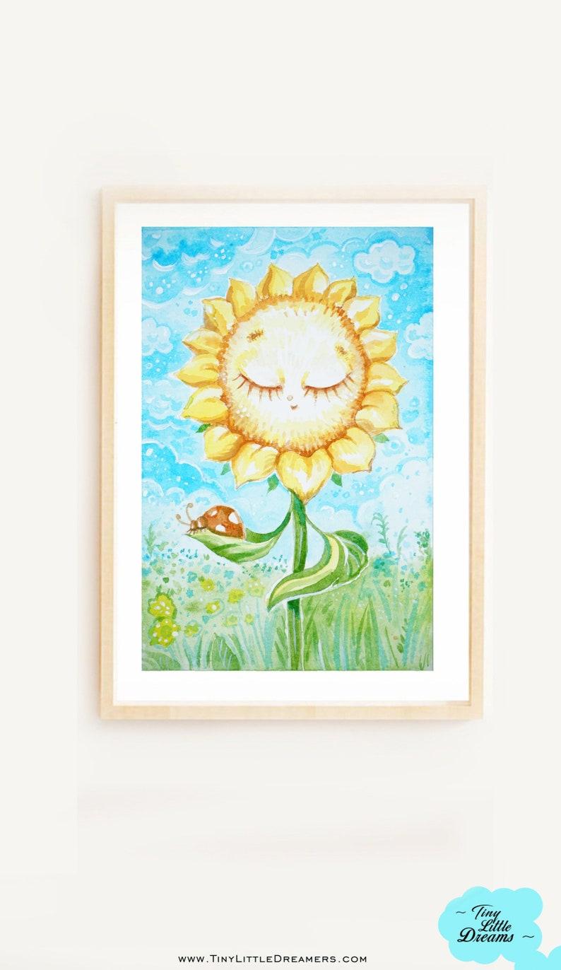 Print: Sunflower Sleepy Dreamer Print Nursery Wall image 0