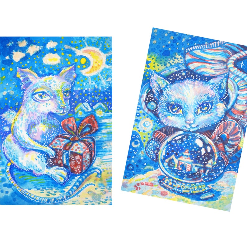 Set of 2 Original Watercolor Paintings Cat and Mouse Nursery image 0