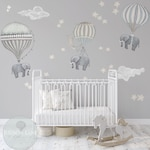 NEW! Med Set, 3 Elephants, Hot Air Balloons, Neutral, 2 Clouds, stars, moon, nursery, baby, hand painted look, movable,  fabric Wall decals