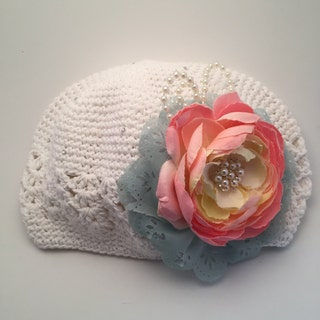 Crochet Hat with Flower for Infant or Toddler