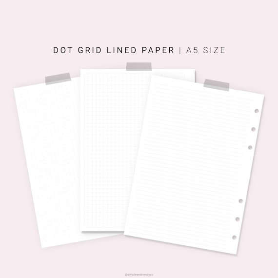 Study Note Paper Dotted Grid A5 Planner Inserts Printable Writing Paper Blank Notes Undated Study Note Template Lecture Notes Taking