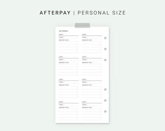 Afterpay Tracker Personal Planner Inserts, Printable Afterpay Payment Tracker